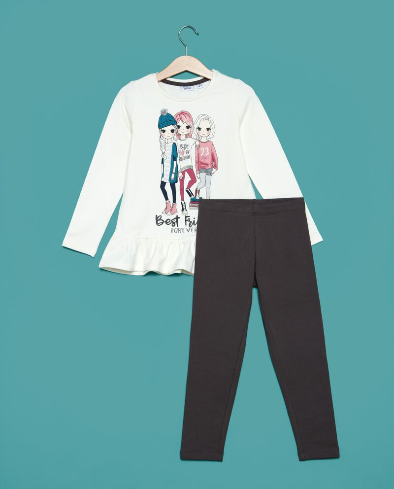 Set jogging t-shirt e leggings tinta unita bambina