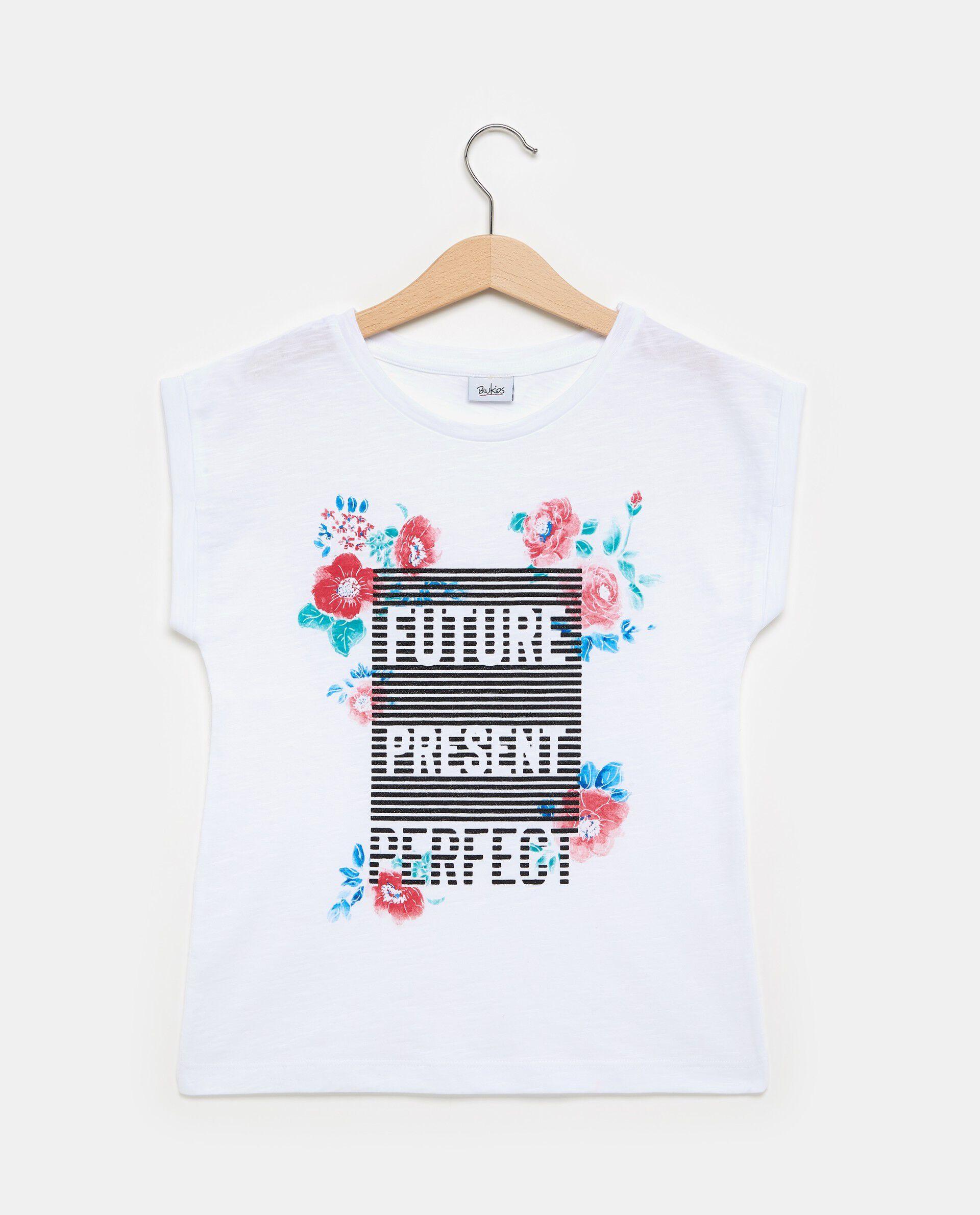 T-shirt bianca in puro cotone con effetto mélange ragazza