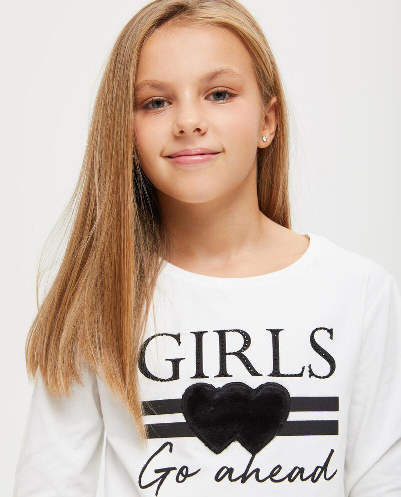 T-shirt maniche lunghe cuori floccati