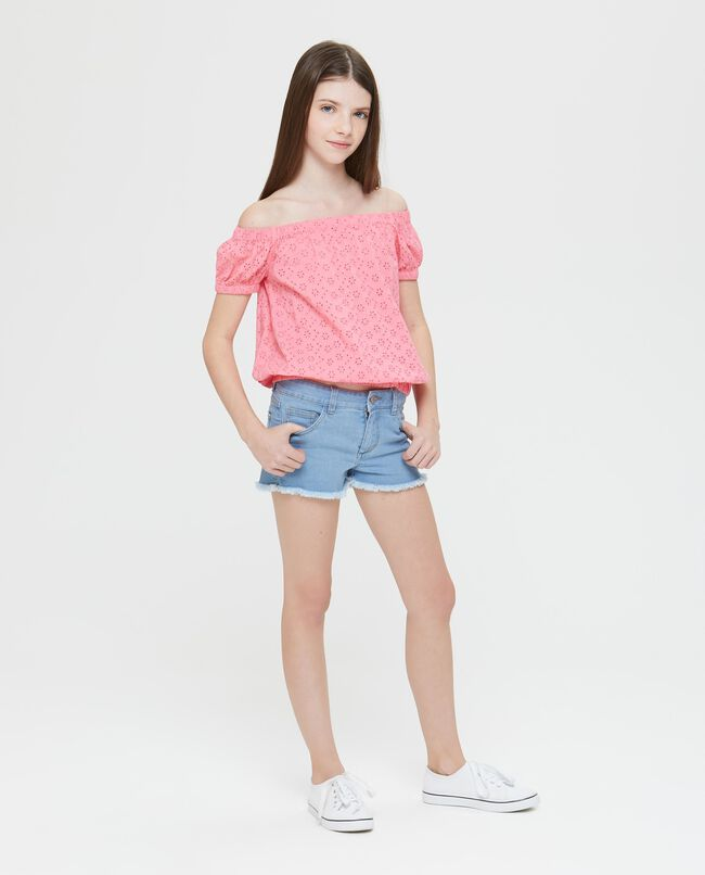 Shorts in denim sbiancato