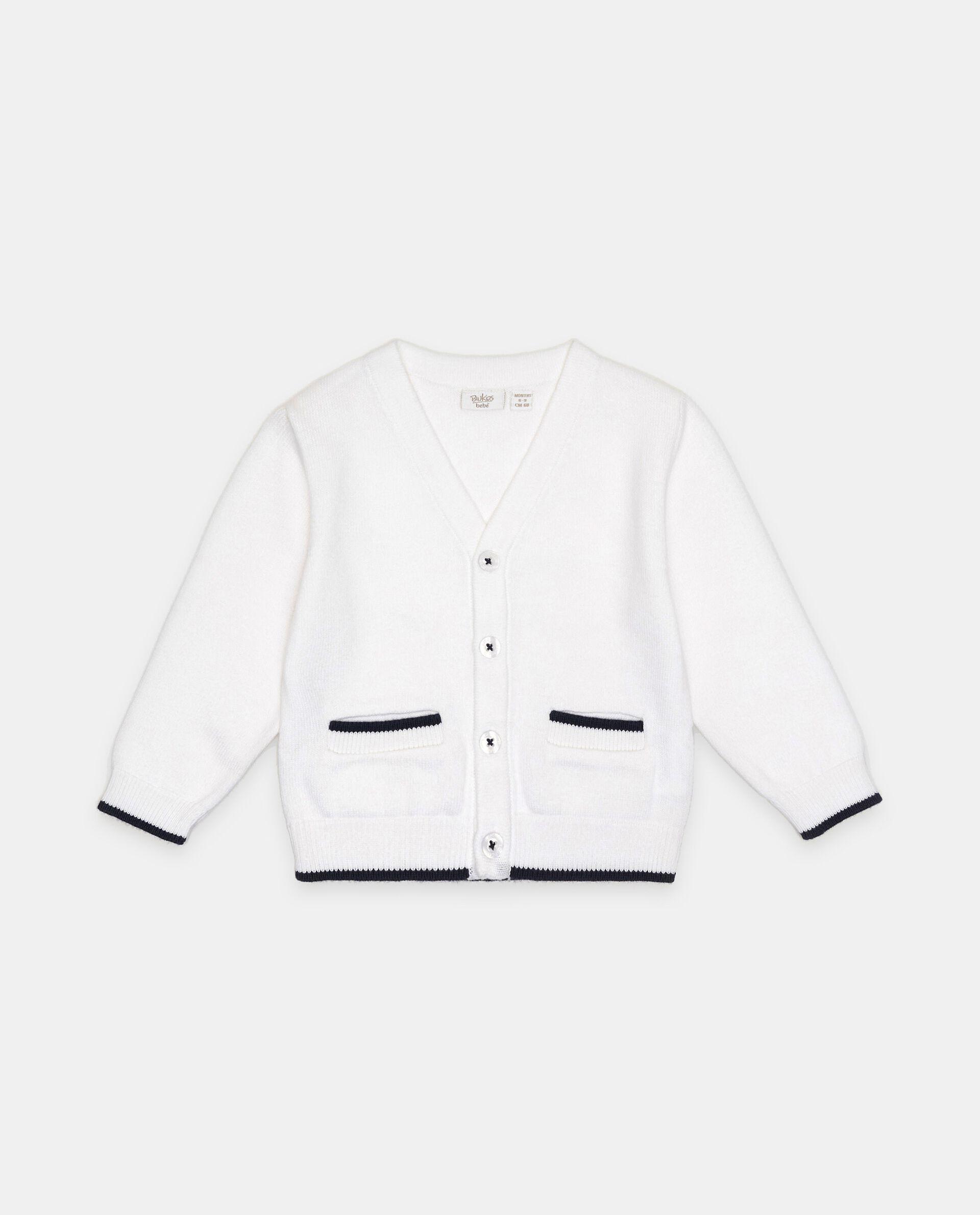 Cardigan in puro cotone con profili a contrasto neonato
