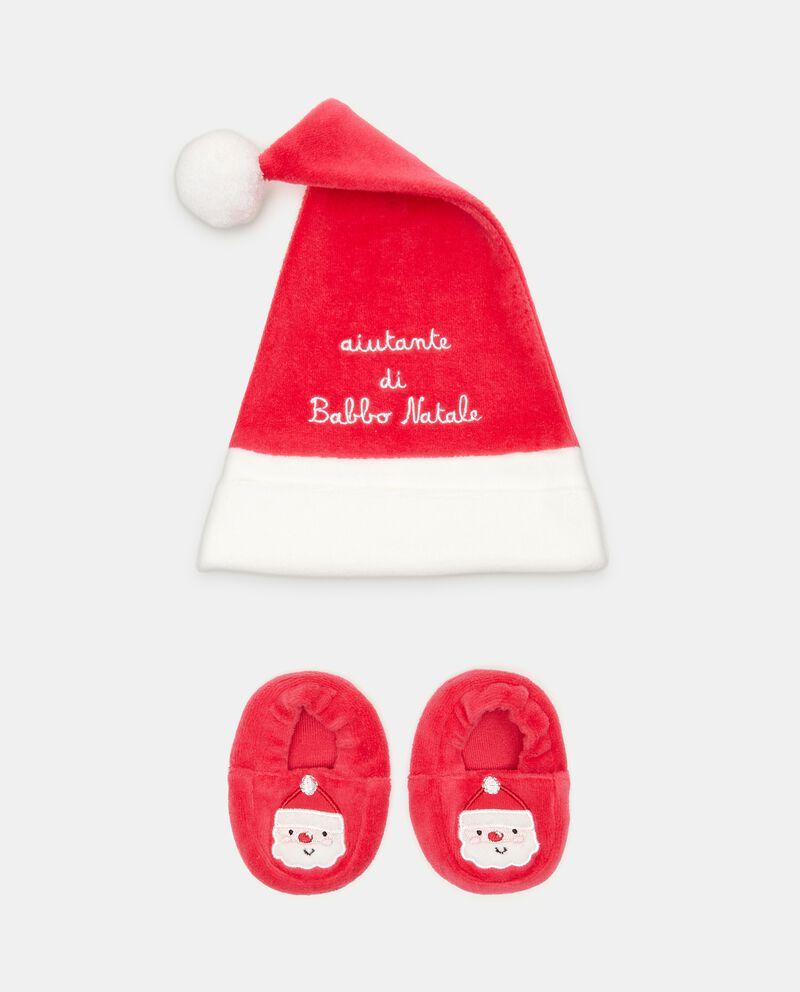 Corredo con cappellino natalizio e scarpine