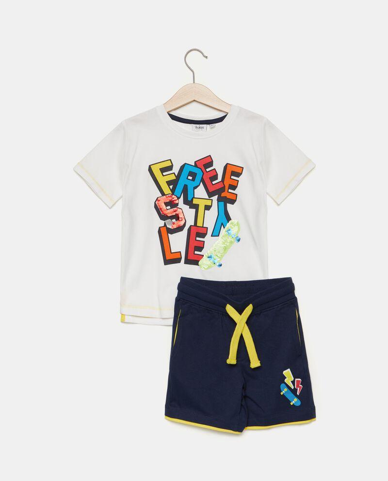 Set con t-shirt e bermuda in puro cotone bambino