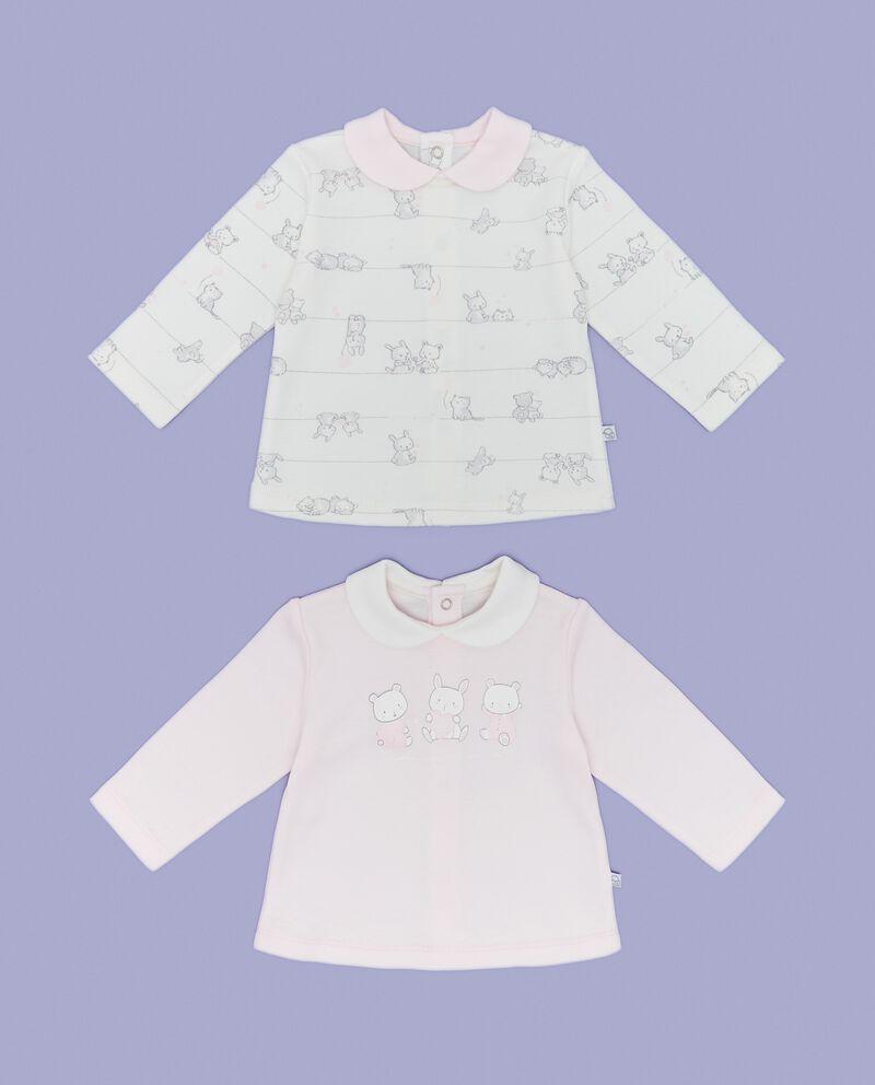 Bipack t-shirt motivo a righe e tinta unita neonata