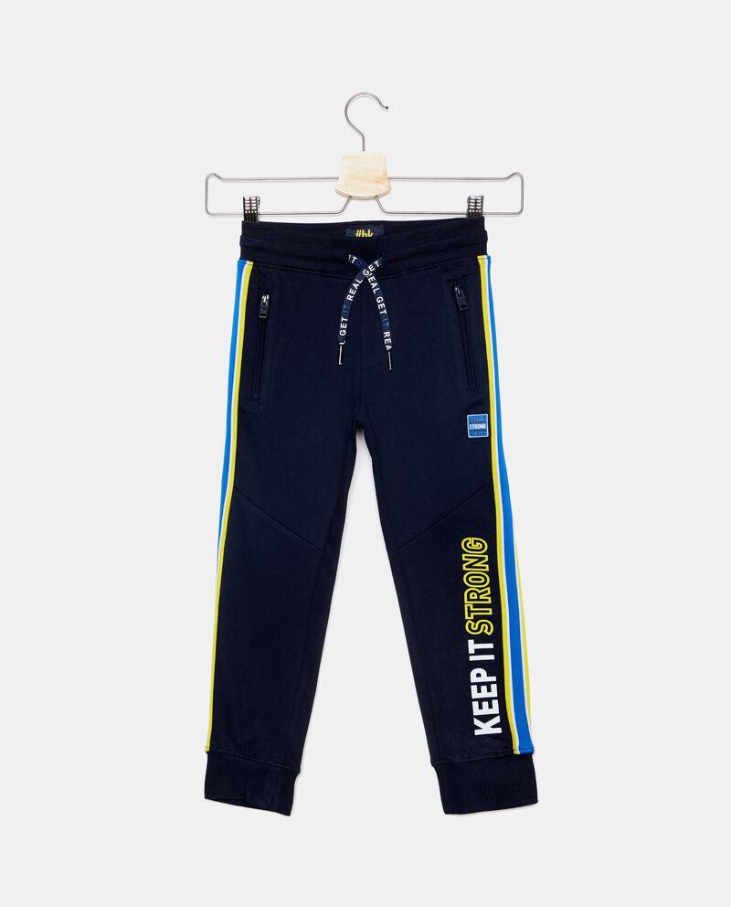 Pantaloni in puro cotone con lettering bambino