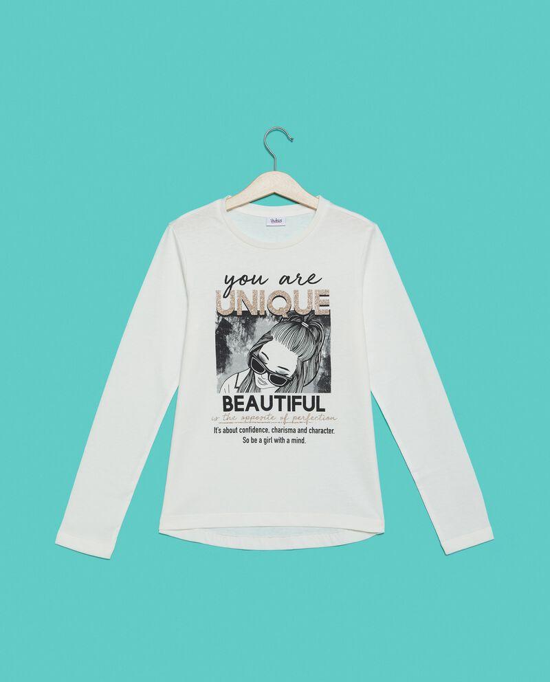 Maglietta in puro cotone stampa ragazza