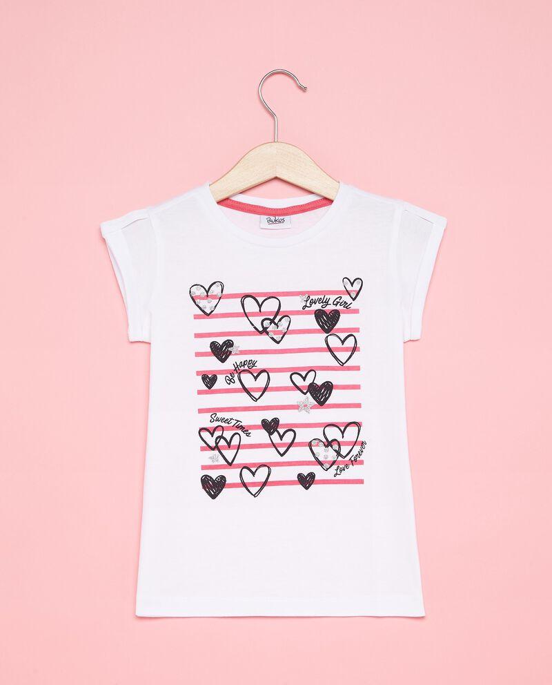 T-shirt con disegno cuori bambina