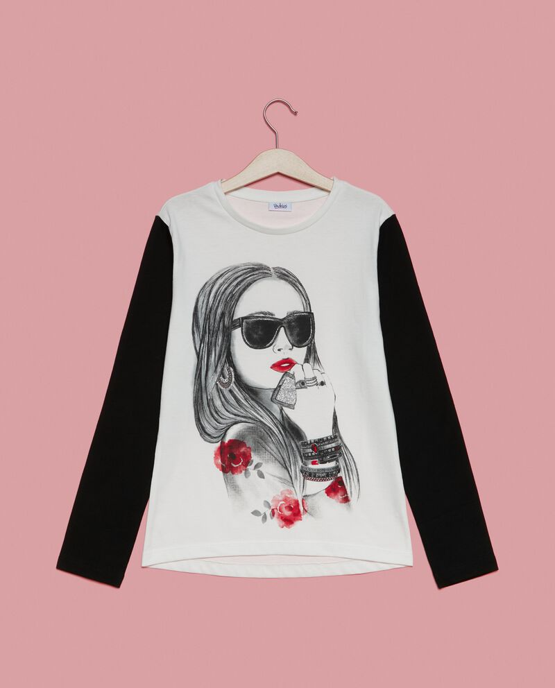T-shirt in puro cotone maniche a contrasto ragazza