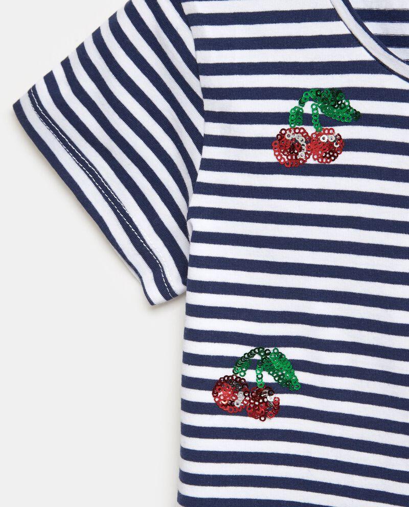 T-shirt con motivo a righe e fantasia ciliegie bambina