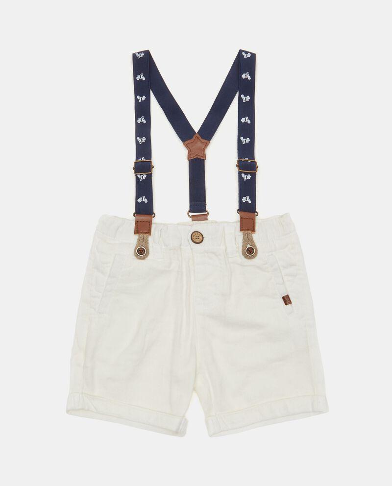 Shorts neonato in cotone biologico con bretelle