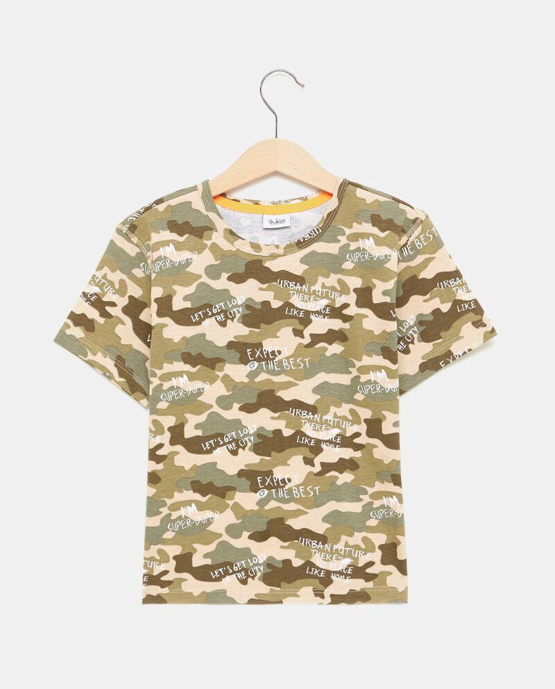 T-shirt in puro cotone con motivo militare bambino