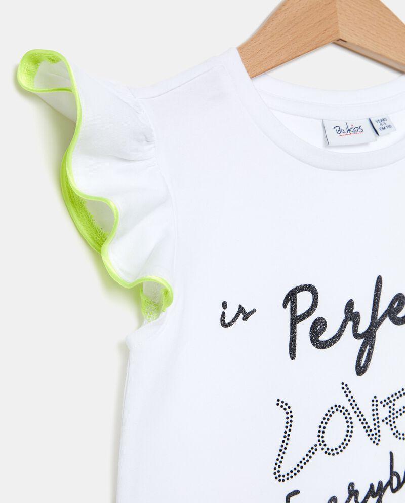 T-shirt in cotone organico con paillettes bambina