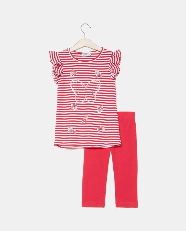 Completo in cotone organico jersey stretch bambina