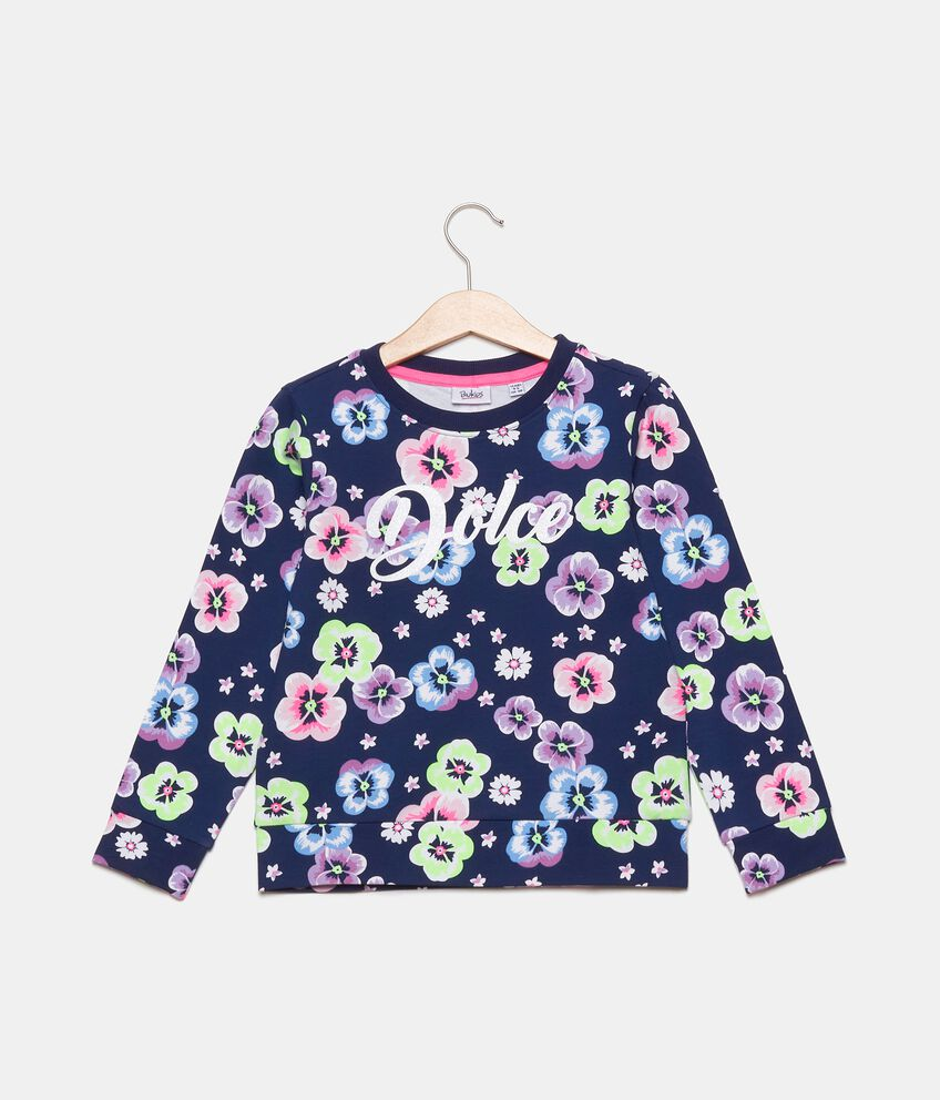 Felpa girocollo in cotone elasticato con fiori bambina