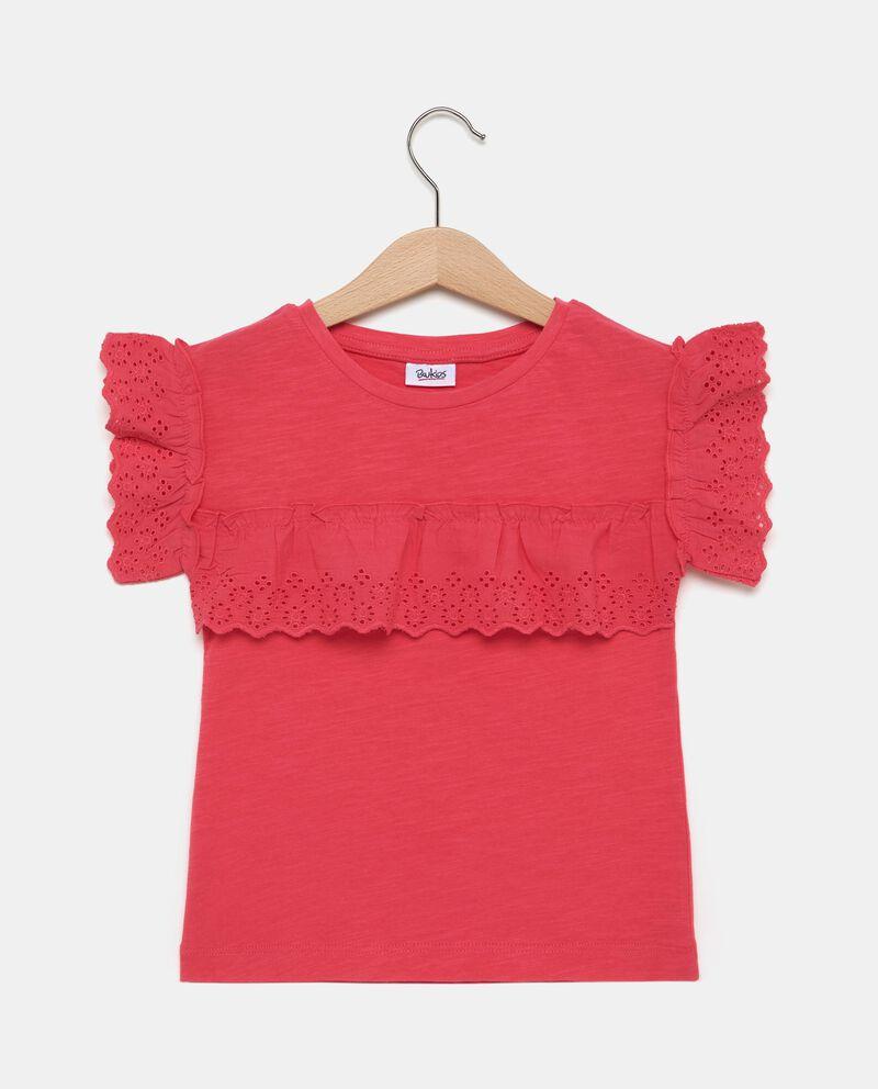 T-shirt in puro cotone con volant e ruche bambina