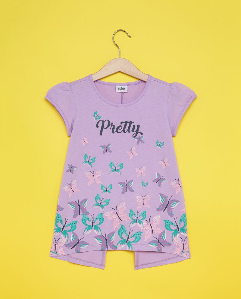 T-shirt floreale con spacco sul retro