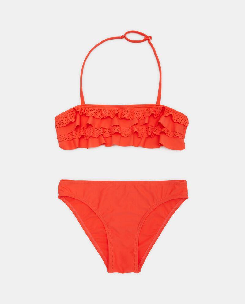 Bikini in tinta unita con balze ragazza