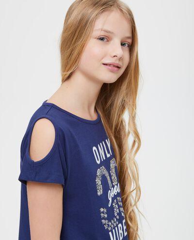 T-shirt con paillettes e stampa