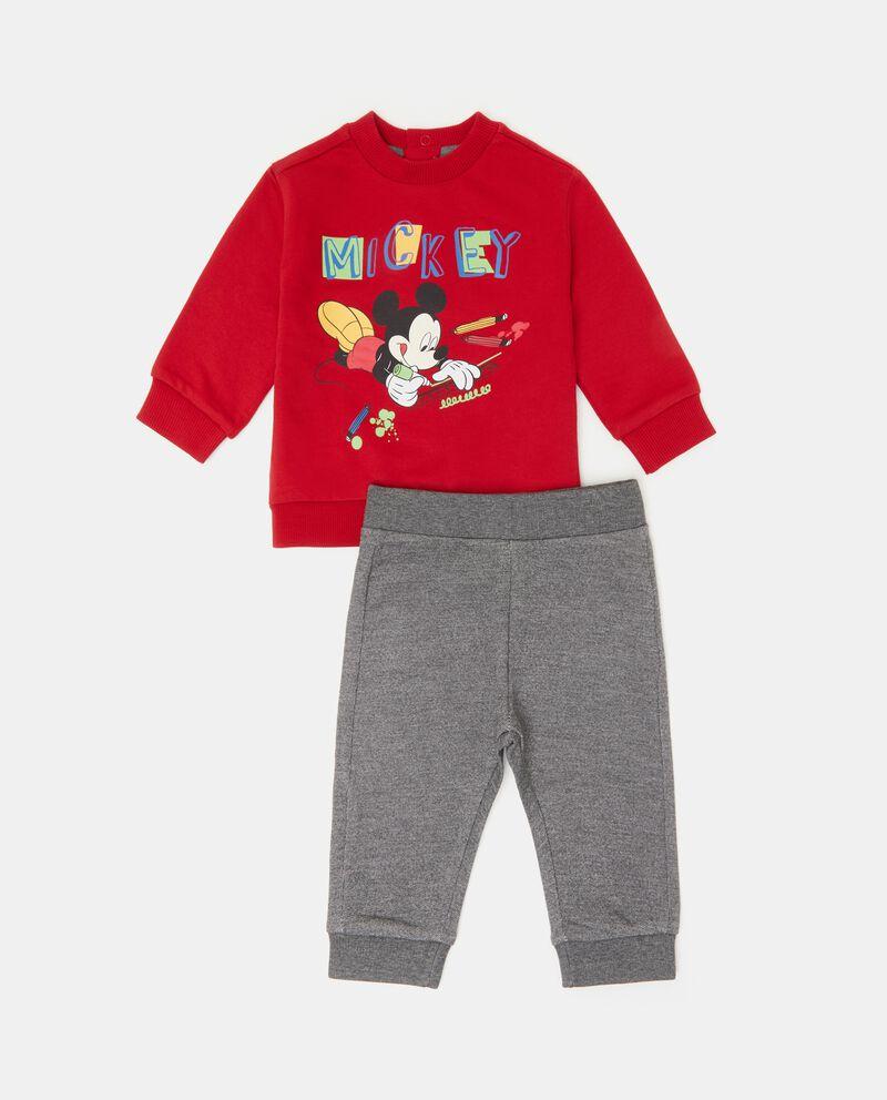 Completino felpa e pantaloni in tinta unita neonato
