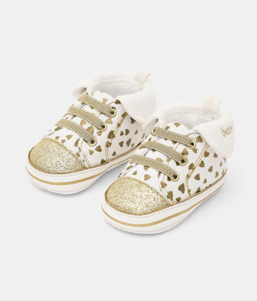 Scarpine con stampa glitter neonata double 1