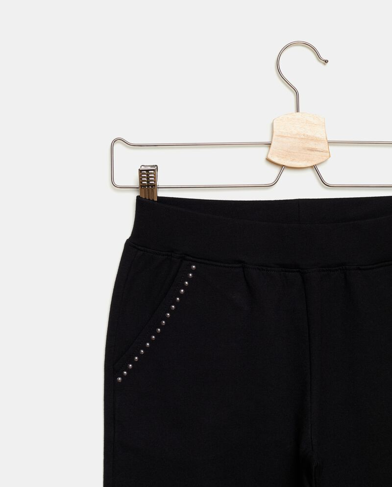 Pantaloni in tinta unita con strass ragazza