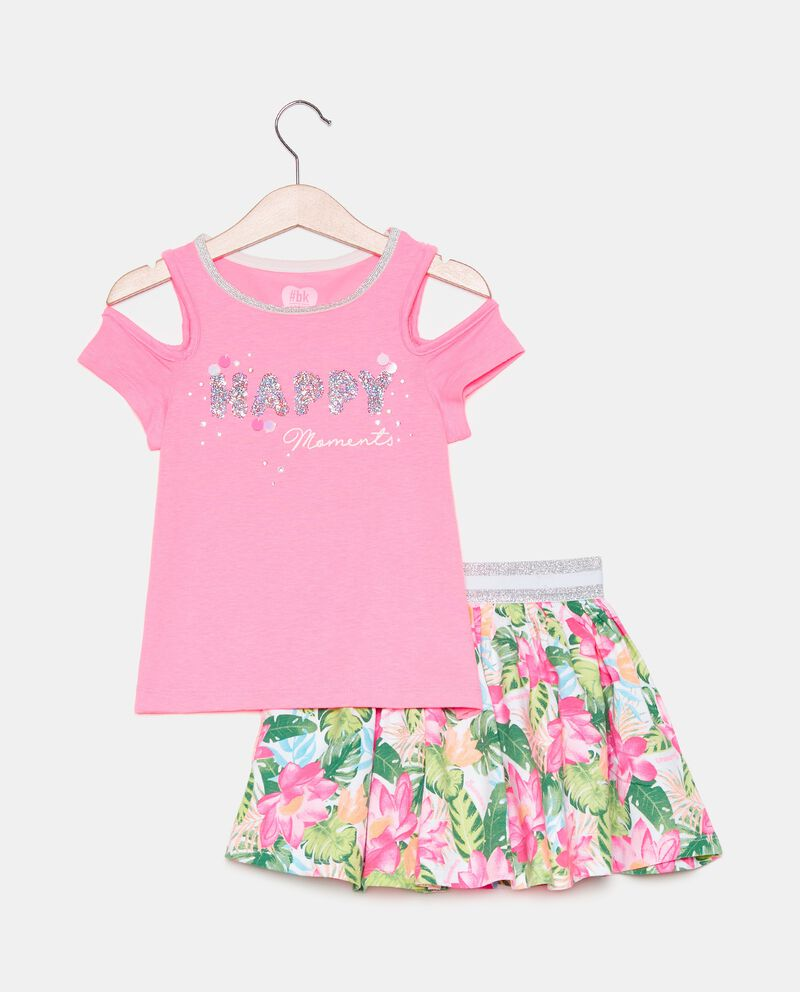 Completo 2 pezzi in jersey stretch bambina