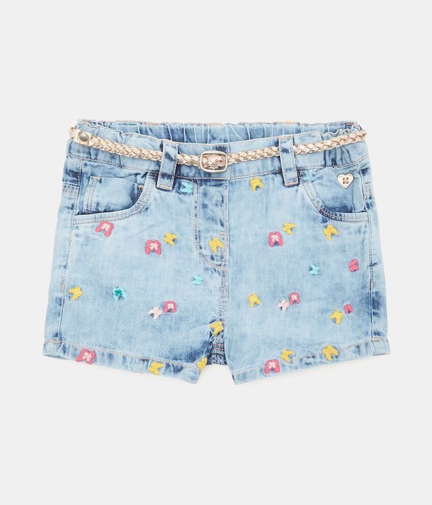 Shorts con ricami in puro cotone