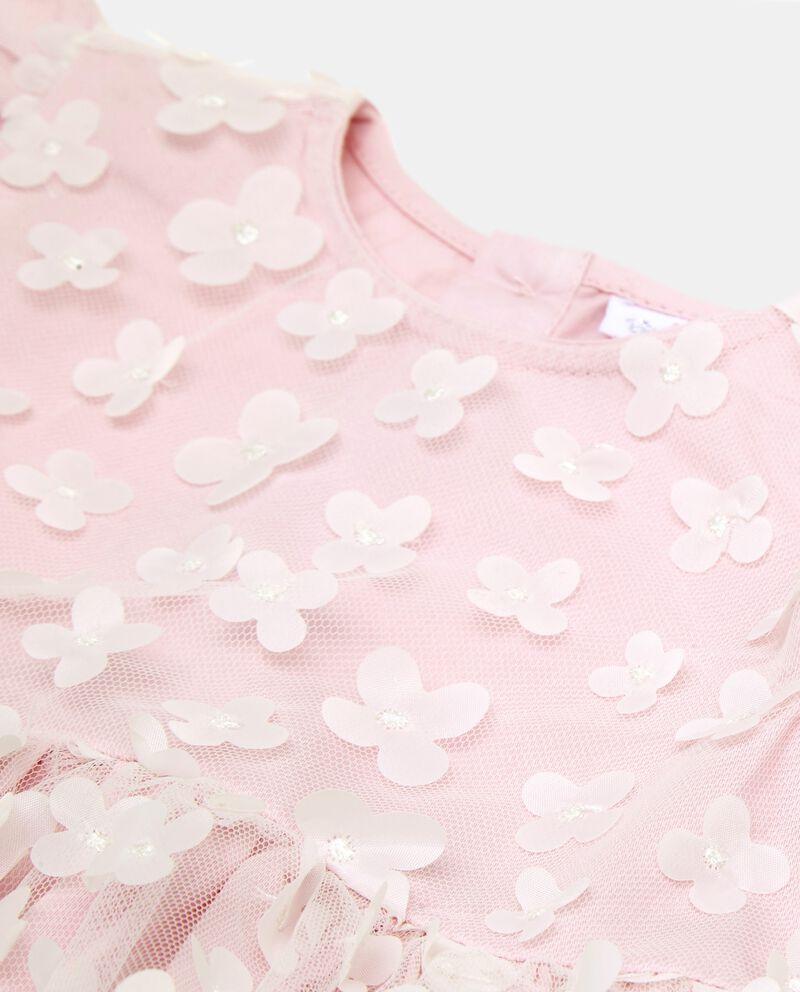 Vestitino smanicato con inserti floreali