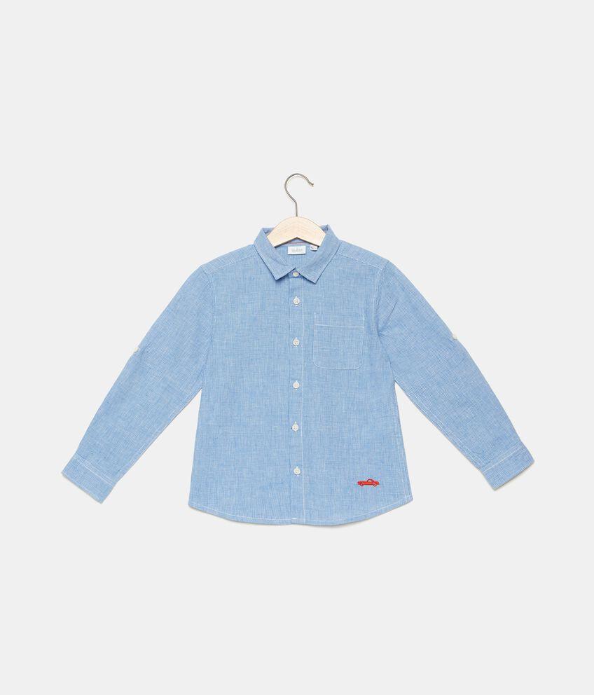 Camicia a quadretti in lino misto cotone bambino