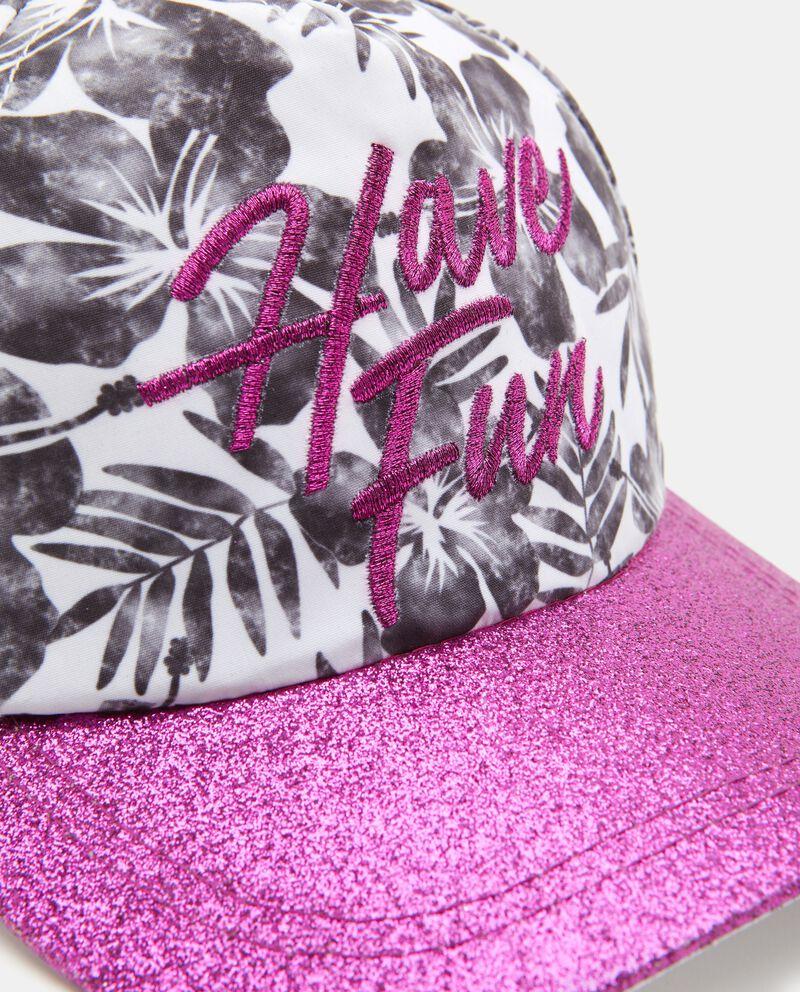 Cappellino con lettering e glitter bambina