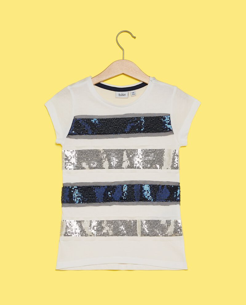 T-shirt con bande in paillettes bambina