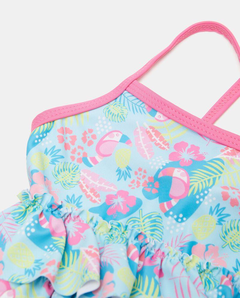 Costume intero stampato con balze neonata