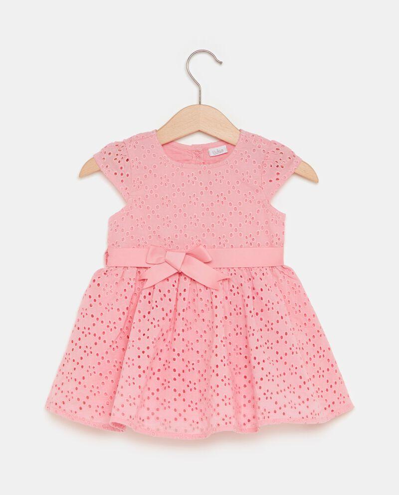 Vestito in puro cotone traforato neonata
