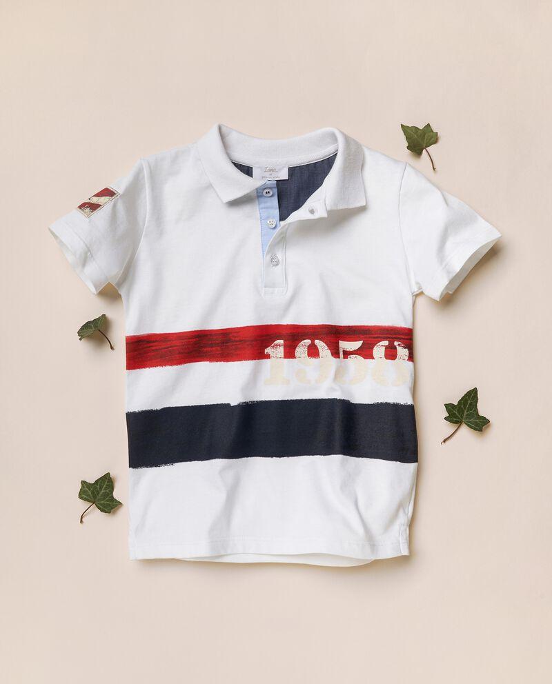 Polo con stampe in cotone organico jerseydouble bordered 0