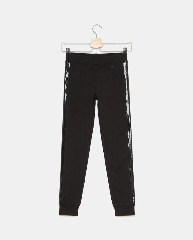 Pantaloni in felpa di cotone con inserti ragazza carousel 0