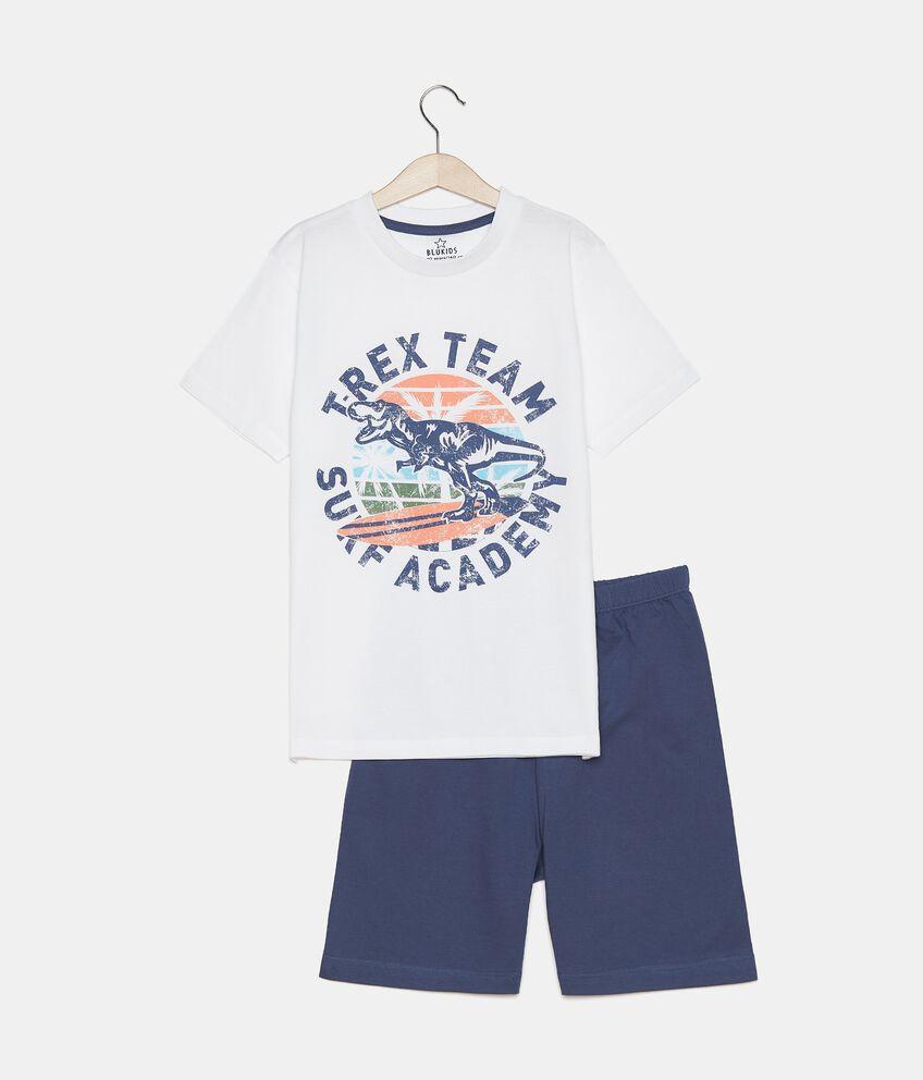 Pigiama di t-shirt e bermuda in cotone organico ragazzo double 1