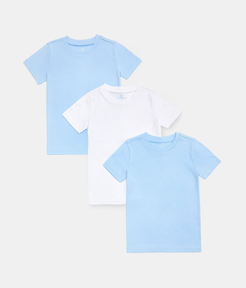 Set con 3 t-shirt intime girocollo in puro cotone biologico bambino double 1