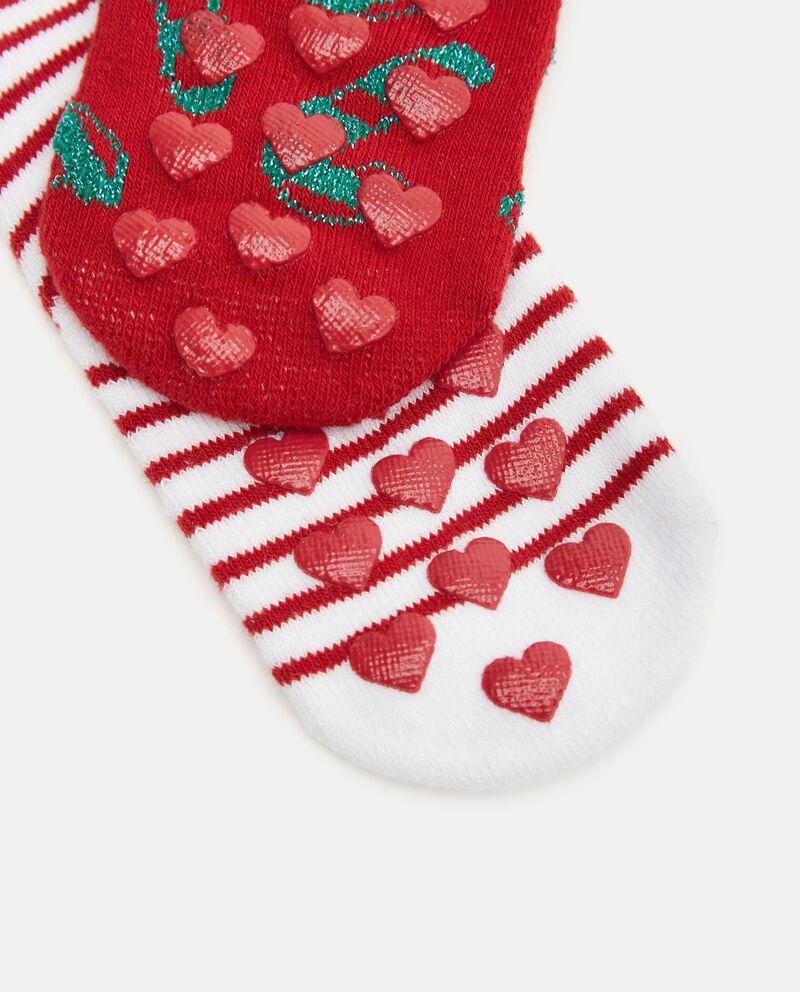 Pack con 2 calze natalizie in cotone organico neonata single tile 1