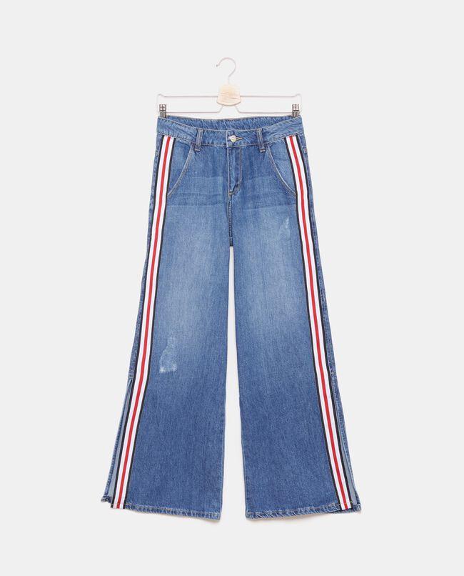 Jeans ampi con bande laterali motivo a righe ragazza