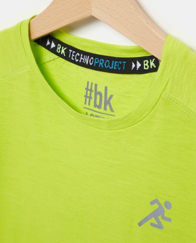 T-shirt in puro cotone verde con effetto mélange ragazzo