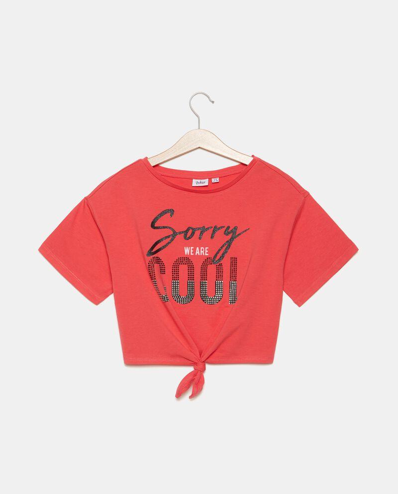 T-shirt in cotone organico jersey con strass ragazza