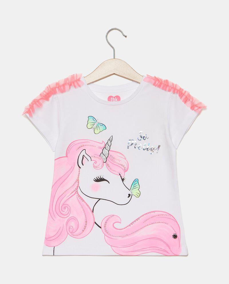 T-shirt girocollo in cotone elasticato con strass bambina