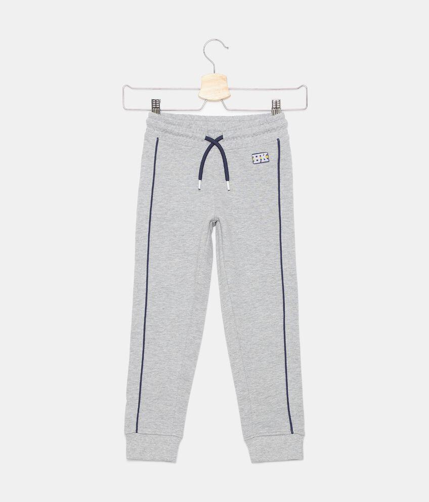 Pantaloni in felpa cotone organico con bandine bambino double 1