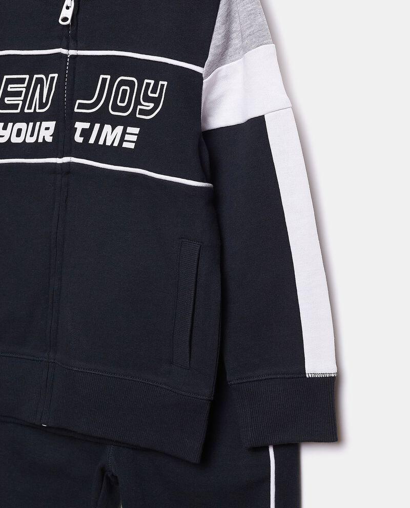 Set jogging con felpa zippata e pantaloni in puro cotone bambino