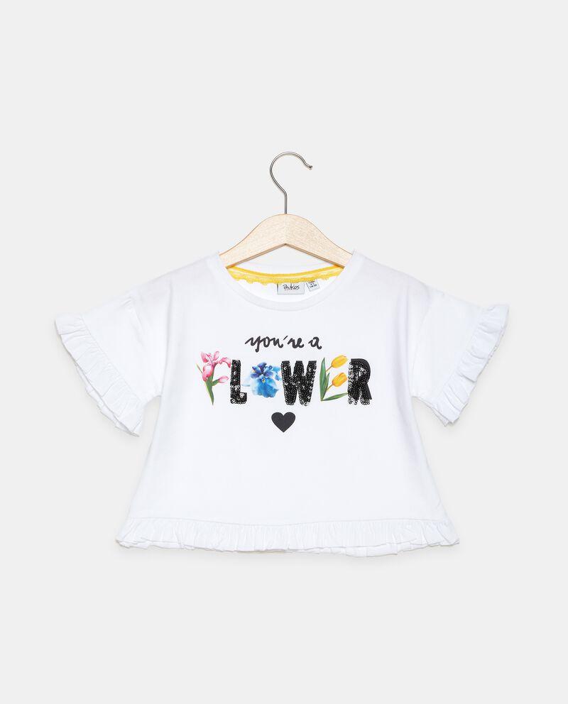 T-shirt di cotone organico con dettaglio ruche bambina