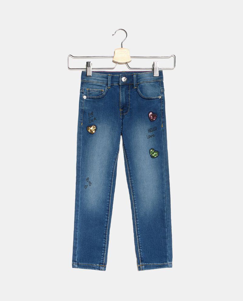 Jeans con cuoricini in paillettes bambina