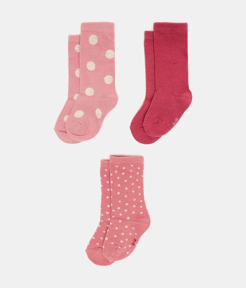 Pack con 3 paia di calzini lunghi cotone organico neonata double 1