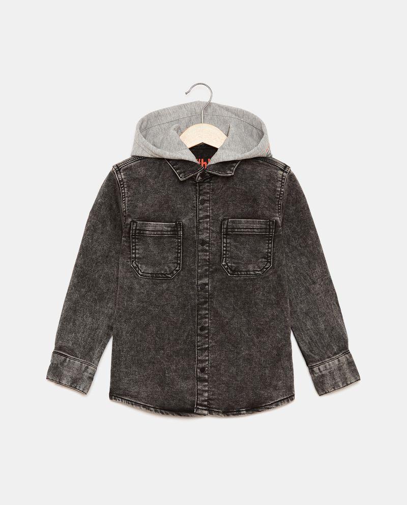 Camicia in denim di cotone con cappuccio bambino cover