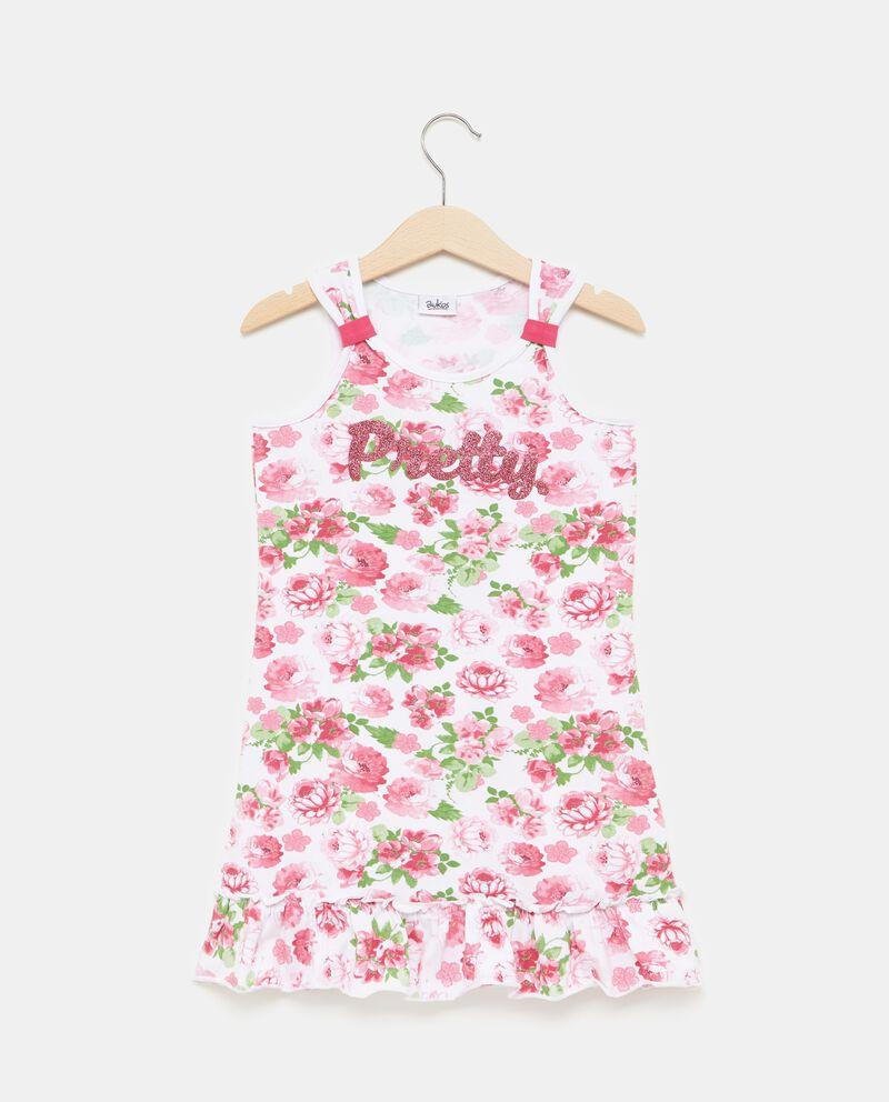 Vestito smanicato in cotone con fantasia floreale bambina