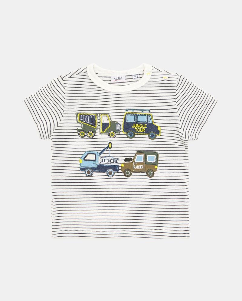 T-shirt con motivo a righe e stampa in puro cotone neonato